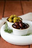 foto of kalamata olives  - marinated green and black olives  - JPG