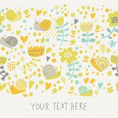 Pastel colored floral design with cute snails in vector. Seamless pattern can be used for wallpapers