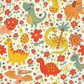 image of dinosaur-eggs  - Cute dinosaurs in cartoon vector seamless pattern - JPG