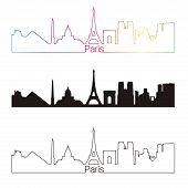 Paris Skyline Linear Style With Rainbow