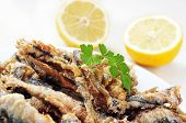 closeup of a plate with spanish boquerones fritos, battered and fried anchovies typical in Spain