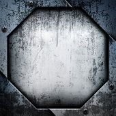 picture of octagon shape  - old metal with octagon pattern - JPG