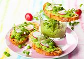 Crostini with pea puree,radish,rocket and cheese