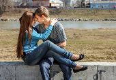Portrait happy young teenage couple outdoor