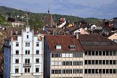 picture of zurich  - Zurich cityscape with old buildings roof tops Switzerland - JPG