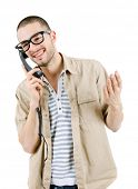 young man with a phone, isolated on white