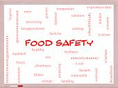 stock photo of e coli  - Food Safety Word Cloud Concept on a Whiteboard with great terms such as hazards e coli cooking and more - JPG