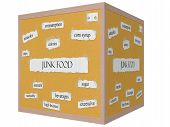 picture of high calorie foods  - Junk Food 3D cube Corkboard Word Concept with great terms such as chips calories sugar and more - JPG