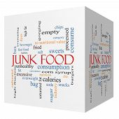 foto of high calorie foods  - Junk Food 3D cube Word Cloud Concept with great terms such as chip snacks calories and more - JPG
