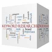 Keyword Research 3D Cube Word Cloud Concept