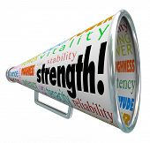 Strength word on a bullhorn or megaphone with other terms like toughness, stability, power, energy,