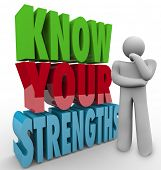 Know Your Strengths words beside a thinking person wondering what his unique or special skills or abilities are to give him a competitive advantage in a job, career, challenge or life