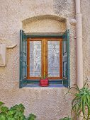 Window and flowerpot Chios island Greece