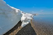 foto of sakhalin  - Pack ice on the coast of the Okhotsk sea Sakhalin island Russia - JPG