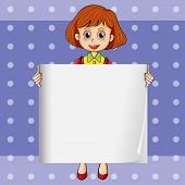 Illustration of a girl holding an empty signage with a polkadot background
