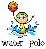 Illustration of a stickman playing water polo on a white background