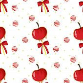 Illustration of a seamless template with apples, candy balls and ribbons on a white background