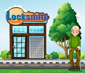 picture of locksmith  - Illustration of an old man standing in front of the locksmith building - JPG