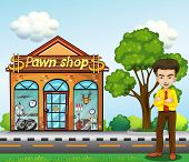 Illustration of a businessman standing in front of the pawnshop