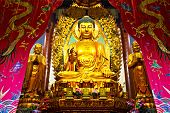 Linshan,China-February 05,2014:Golden buddha in temple on February 05,2014 in  Linshan,China.
