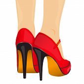 vector illustration legs red shoes
