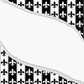 Black And White Fleur De Lis Pattern Torn Textured Fabric Background