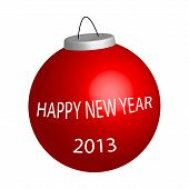 picture of happy new year 2013  - New year ball with sign Happy New Year illustration on white - JPG