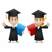 Guy girl university graduates shows thumbs up