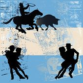 picture of gaucho  - Background illustration of tango dancers and a Gaucho over an Argentinian flag with grunge postal markings - JPG
