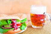 Homemade Grilled Hamburger Cold Beer