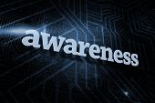 The word awareness against futuristic black and blue background