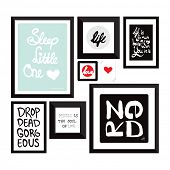 Trendy wall decoration typography quote home decor photo frame with text in vector