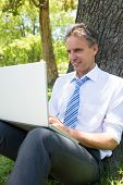 Businessman smiling while using laptop in park