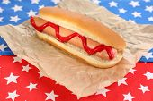 Tasty hot dog on napkin with stars