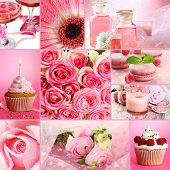 Collage of photos in pink colors