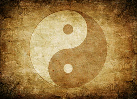 picture of taoism  - Ying yang symbol on old dirty background - JPG