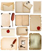 Vintage Book Pages, Cards, Photos, Pieces Isolated On White