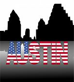 Austin skyline reflected with American flag text vector illustration