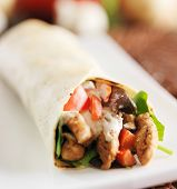 chicken wrap in tortilla with sauce and mesclun mix