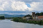 Bridges and architecture along river Arno in Florence, Tuscany