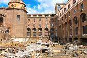 Archaeological Excavations In The Courtyard Of A Modern Building In Rome, Italy