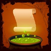 foto of witches cauldron  - Halloween background with witches cauldron and paper illustration - JPG