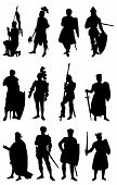 image of arthurian  - 12 silhouettes of Knights in various positions - JPG