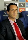 BARCELONA - AUG, 30: Unai Emery Sevilla FC manager during spanish league match against Espanyol at the Estadi Cornella on August 30, 2014 in Barcelona, Spain