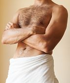 Strong Young Caucasian Man Torso With Towel