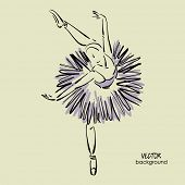 image of ballerina  - art sketch of beautiful young ballerina with tutu in ballet dance pose - JPG
