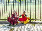 Women Sitting At The Floor In The Red Fort Complex