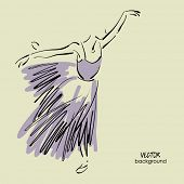 art sketched beautiful young ballerina with long tutu in the dance pose