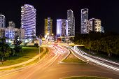 Broadbeach cityscape and night traffic trails