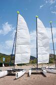 Sailing Catamarans On The Beach